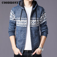 COODRONY Sweater Men Clothes 2018 Winter Thick Warm Cardigan Men Knitted Cotton Liner Sweater Coat With A Hood Zipper Coats H001