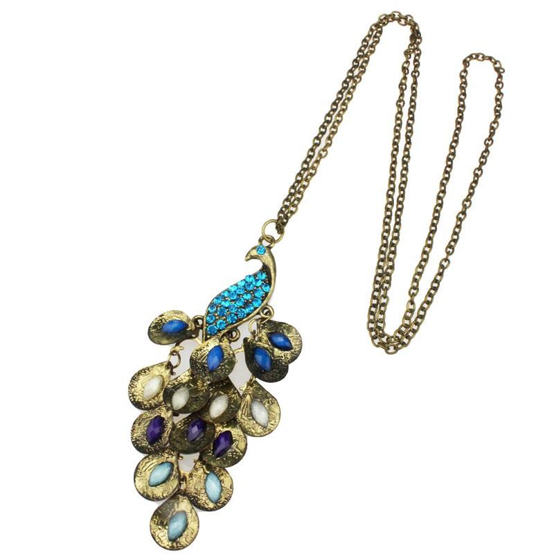 павлина год сбора винограда ожерелья ожерелье цепь свитера x4198