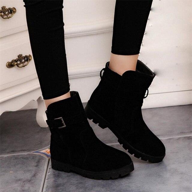 Sagace 여성 따뜻한 눈 발목 부츠 버클 일치 솔리드 마틴 부츠 신발 고품질 여자 뜨거운 판매 겨울 부츠