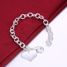 Famous Brand Love Bracelet New Women 925 logo silver plated Bracelet Heart charms Bangles TIF Bracelets Pulseira Fine Jewelry