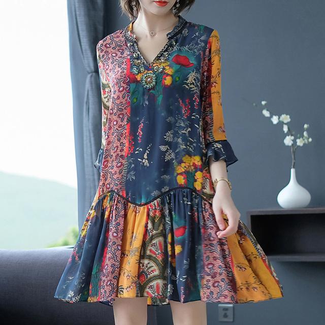 Vintage Floral Silk Boho Midi Dresses