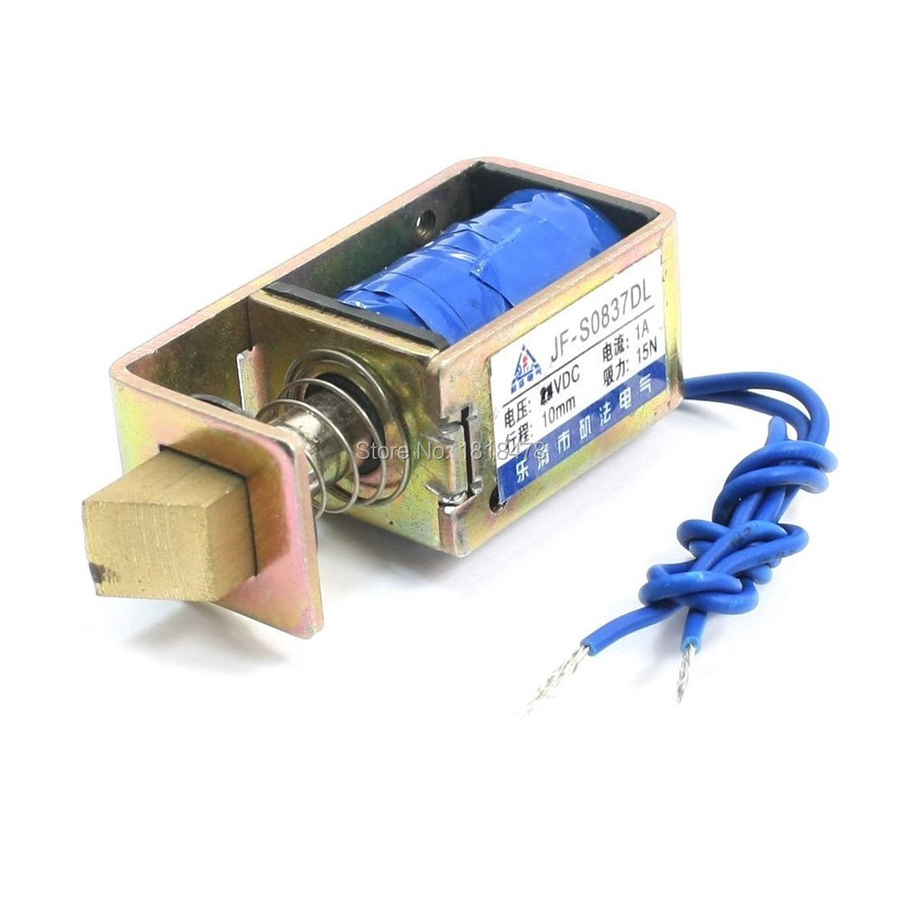 JF-0837DL  DC 6V 1A 10mm Stroke 15N Force Open Frame Type Solenoid for Electric Door Lock 24v pull hold release 10mm stroke 6 3kg force electromagnet solenoid actuator