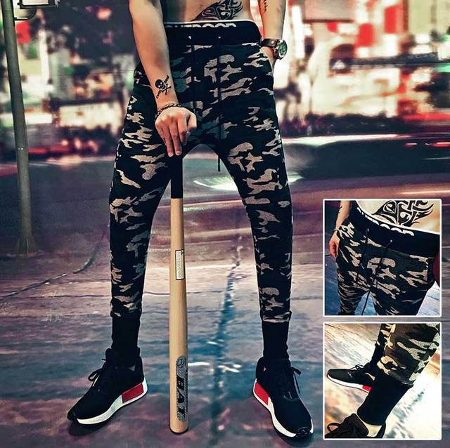 2016 new autumn and winter, tough guy, still cool big yards, camouflage, knitting, beam foot casual pants,  pants Wei