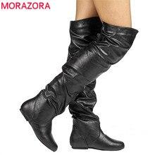 MORAZORA 2020 בתוספת גודל 48 נשים מעל הברך מגפי pu בוהן עגול סתיו חורף מגפי פשוט נעליים יומיומיות אישה צ לסי מגפיים