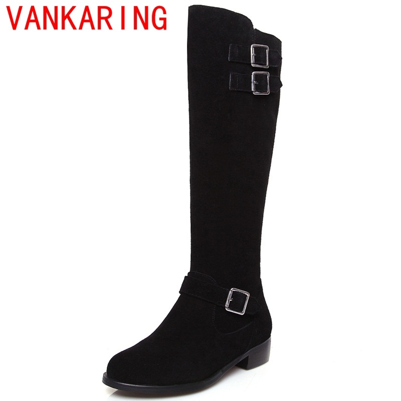 ФОТО VANKARING shoes 2017 new European and American fashion knee high boots high quality chelsea boots elegant metal buckles shoes