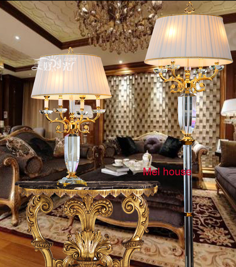Large Reading Crystal Floor Light With Fabric Lampshade Luxury Big Restaurant Lamp Living Room Stand
