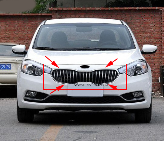Free shipping Original ABS Chrome Front Grille Around Trim Racing Grills Trim For 2013 kia Cerato/K3 for chevy epica 2007 2012 front grille around trim front grills around trim racing grills trim abs 1pc
