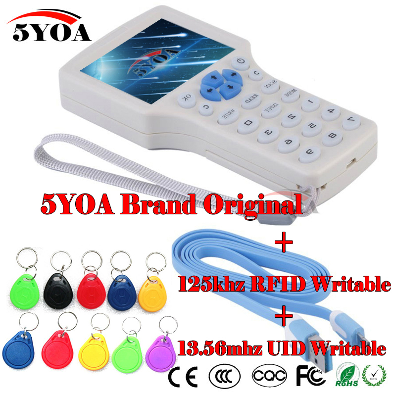 English 10 frequency RFID Copier ID IC Reader Writer copy M1 13.56MHZ encrypted Duplicator Programmer USB NFC UID Tag Key Card(China)