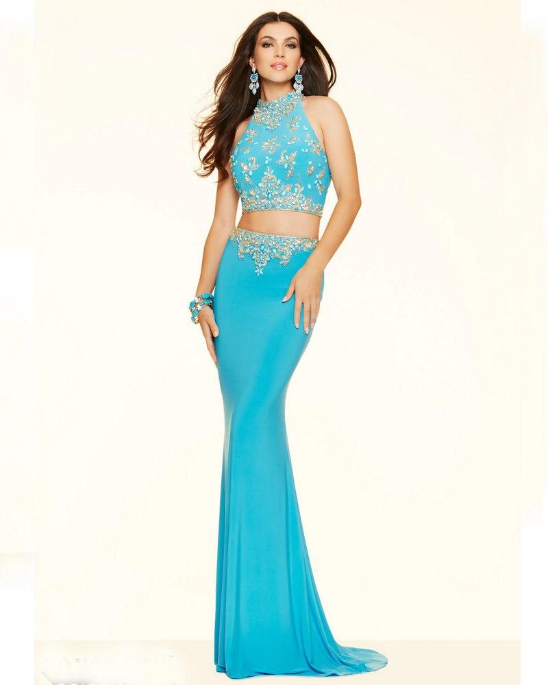 Vestidos de noche color azul turquesa - Estilo 98004 Vestidos De Color Turquesa Brillante Azul Coral Vestidos De Fiesta 2 Unidades De Baile Vestidos Sirena Cuello Alto Vestidos De Noche En