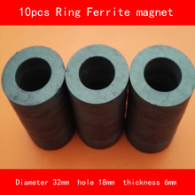 10PCS outer diameter 32mm hole 18mm thickness 6mm work temperature -40 to +220 Celsius permanent ring ferrite magnet ledere 5pcs lot y30 ring ferrite magnet 60 10 mm hole 32mm permanent magnet 60mm x 10mm black round speaker magnet 60x10