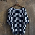 The new summer 2016 fashion loose type leisure big yards stripe batwing coat Five points in the sleeve cuff male t-shirts