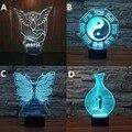 Novelty borboleta chinês tai chi pokemon místico gaiolas de pássaros 3d night light 7 alterar cor usb recarregável luz decor