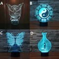Novelty butterfly Chinese Tai Chi Pokemon Mystic Bird Cages 3D Night Light 7 Color Change USB Rechargeable Decor light