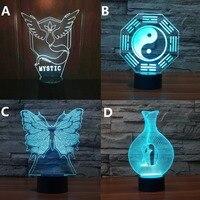 Nowość butterfly Chińskie Tai Chi Pokemon Mystic Klatki Dla Ptaków 3D Światło Nocne 7 Kolor Zmiana USB Akumulator Wystrój światło