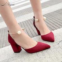 e39b39839f53 Mhysa 2018 women high heels summer women shoes gladiator sandals block  heels pearl strap women pumps