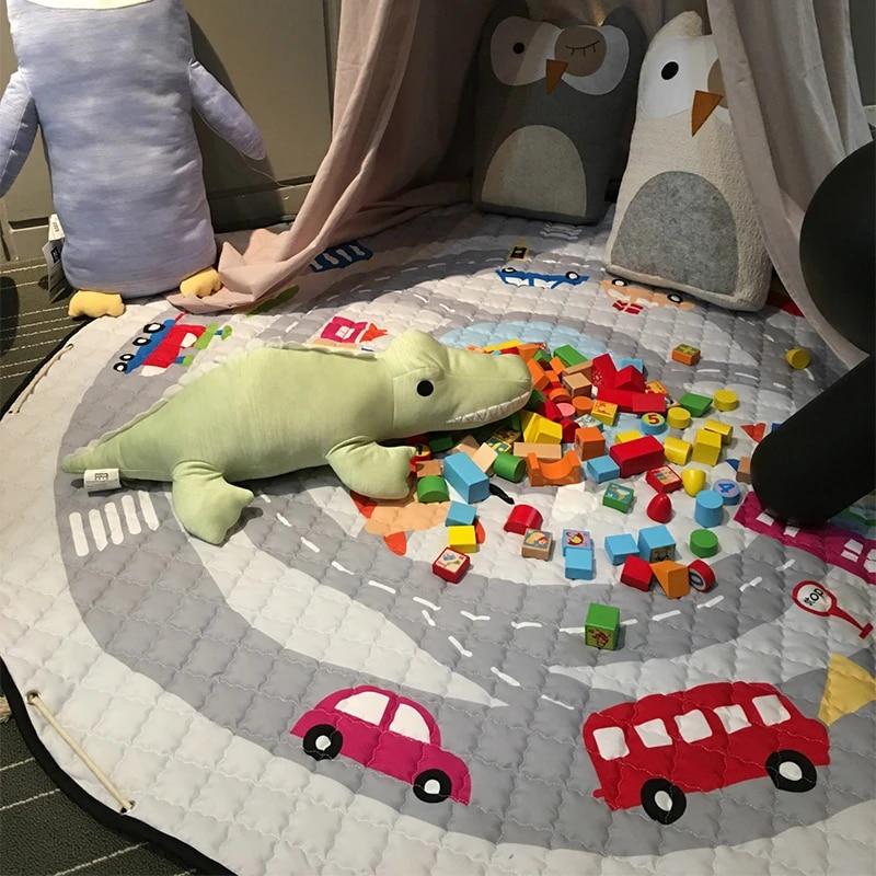 1 5m coton enfants jeu tapis voiture trojan bebe ramper couverture ronde tapis de jeu enfants jouer tapis jeux tapis infantile chambre sac de