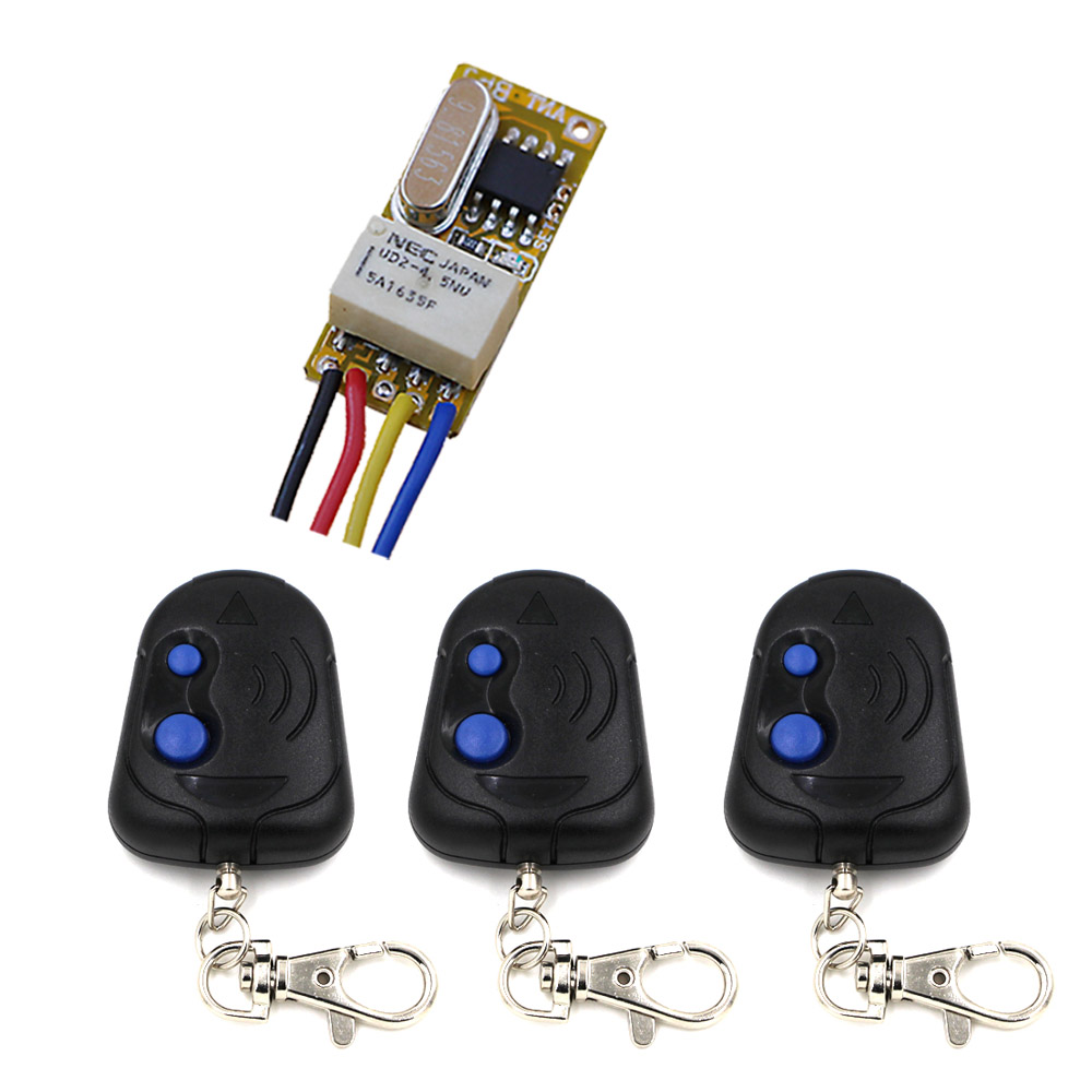 DC3.5v~12V Micro Wireless Remote Control Switch Garage Door Curtain Lighting Switch Receiver Transmitter 315Mhz/433Mhz new arrival wireless remote control switch system dc 12v 24v 2ch remote controller switch for curtain lighting toy 315 433mhz
