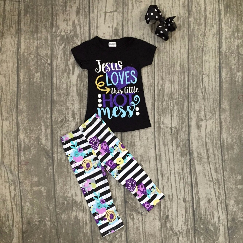 baby girls Spring Summer boutique clothing children girls JESUS loves this little hot mess outfits top with capris with bows baby kids baseball season clothes baby girls love baseball clothing girls summer boutique baseball outfits with accessories