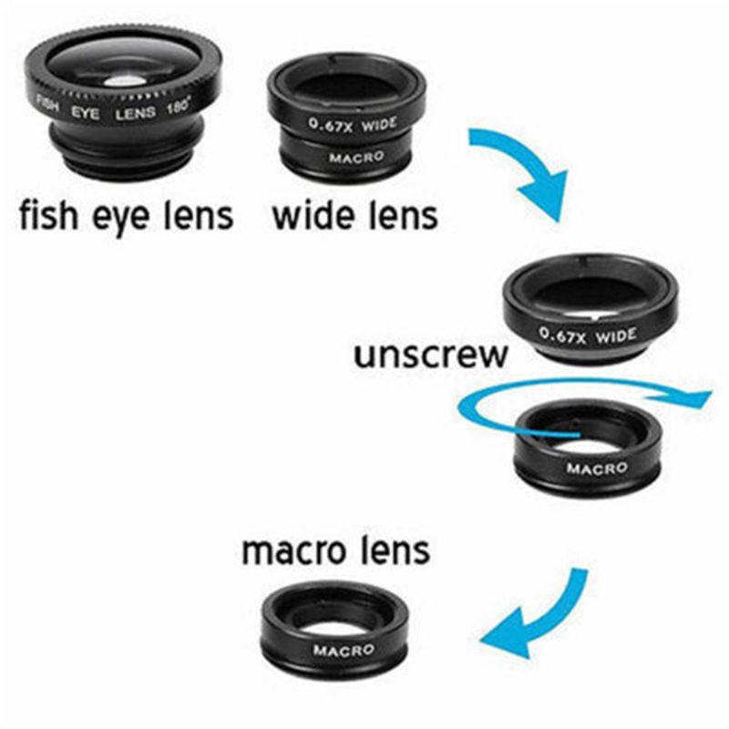 Fisheye Lens 3 in 1 mobile phone clip lenses fish eye wide angle macro camera lens for iphone 6s plus 5s/5 xiaomi huawei lenovo 6