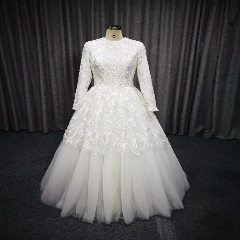 Vraies Photos De Mariage Robe À Manches Longues Robe De Mariage Musulman 2018 Couches de Jupe Retour Couvert Robes De Mariée