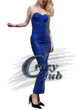 Crazy club_Sexy Women Long latex dress strapless dress Latex dialogue Customized Dress Fetish  Fast Delivery
