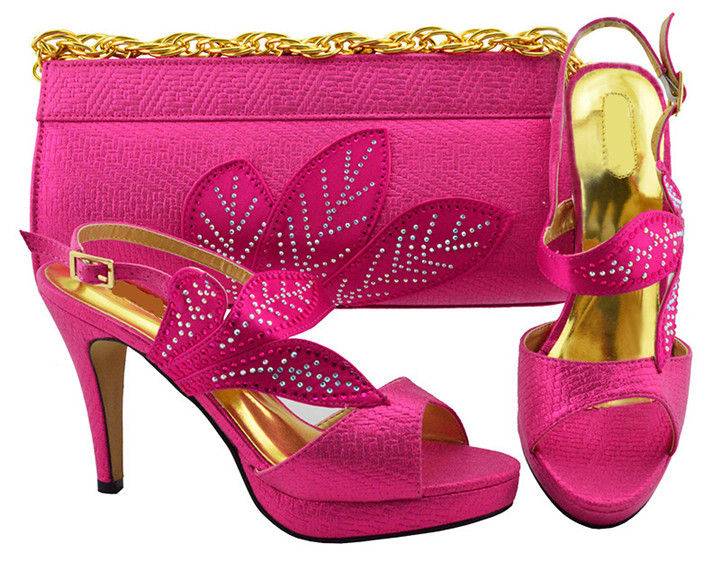 Beautiful leaves design fuchsia wemon pumps with rhinestone african shoes match handbag set for dress MM1068,heel 10.5CM
