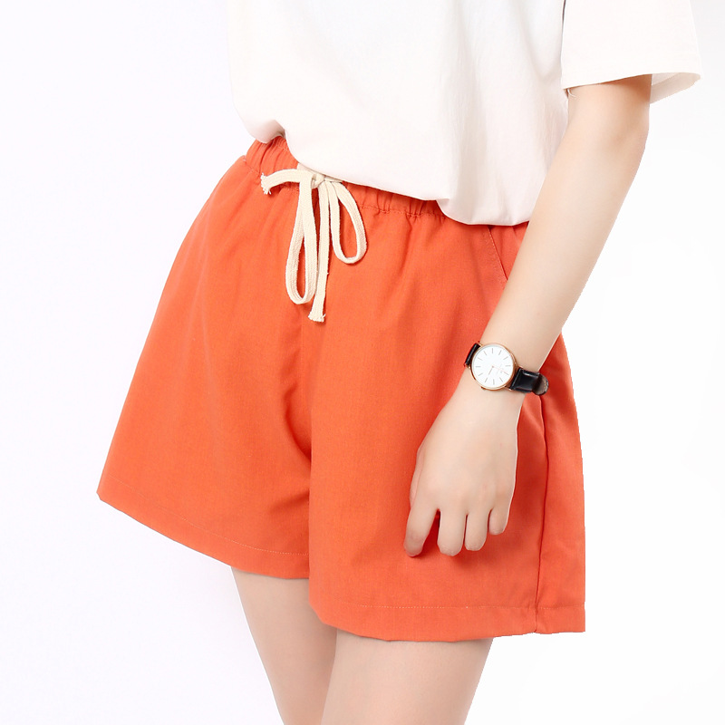 Danjeaner S-2XL Shorts Feminino Women Casual Fashion Candy Color Wide Leg Shorts Plus Size Loose Leisure Drawstring Shorts