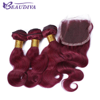 BEAUDIVA Pre Colored Body Wave Human Hair Bundles With Closure 4 4 Burgundy Color Brazilian Remy