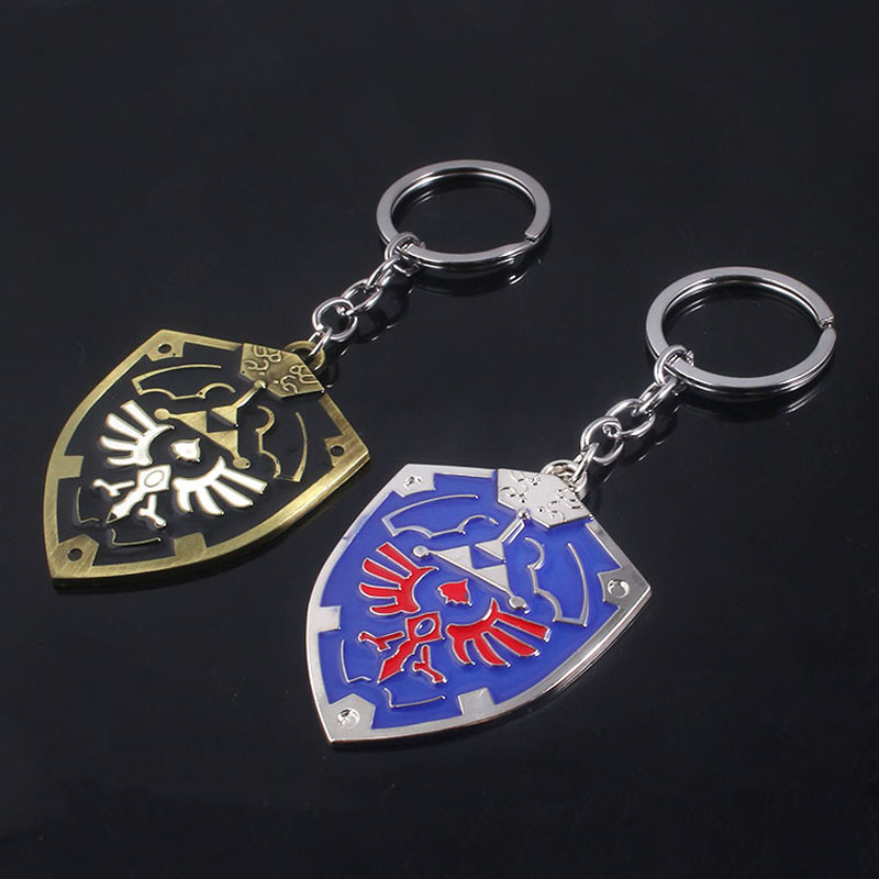 RJ Fashion Jewelry The Legend Of Zelda Keychain High Quality Blue Black Zelda Hylian Shield Keyring Pendant For Men Chaveiro