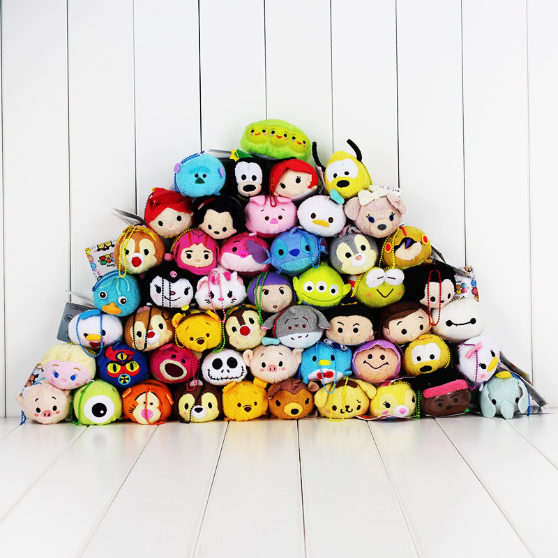 9CM Tsum Tsum Plush Toys Screen Cleaner Inside Out Minnie Stitch Marie Alice Thor Captain Toy Story Princess Pendants(China)