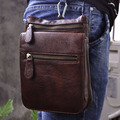 Hot Sale Top Quality Genuine Real Leather Cowhide men Vintage Small Messenger Bag Pouch Waist Pack Bag 6551