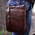 Venda quente de Alta Qualidade Genuína Do Couro De Couro Real dos homens Saco Pequeno Mensageiro Do Vintage Bolsa Saco Pacote de Cintura 6551