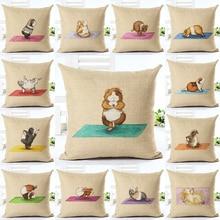 Newest Design Doing Yoga Hamster Throw Pillow Cushion Cover Home Decor Printed Linen Home Decor Pillowcase недорого