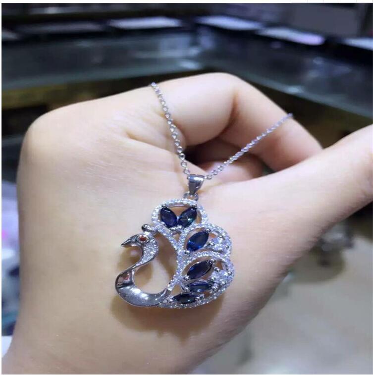 Sapphire necklace pendant Free shipping Natural sapphire 925 sterling silver Fine jewelry 3*5mm 6pcs blue gems термокружка gems 470ml black sapphire 1907 34