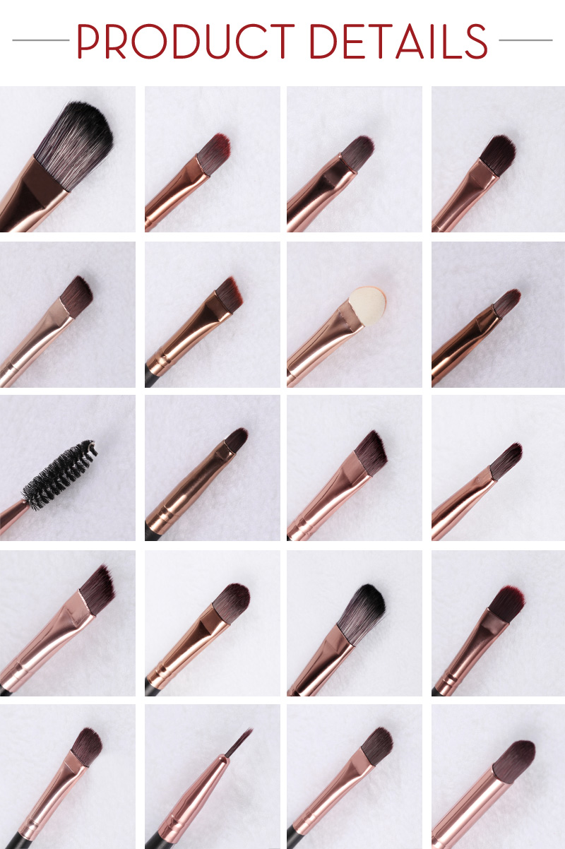 20Pcs Professional Makeup Brushes Set Powder  Eyeshadow Make Up Brushes Cosmetics Soft Synthetic Purple+Brown 2