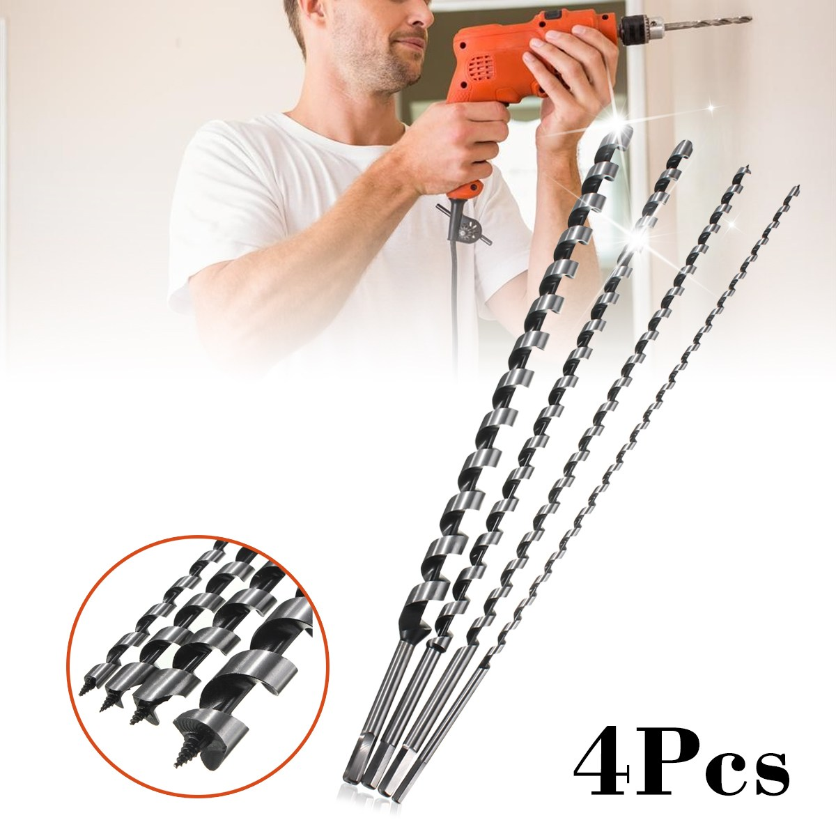 4PC Long Wood Auger Bits 600MM Long Wood Auger Set Drill Bit