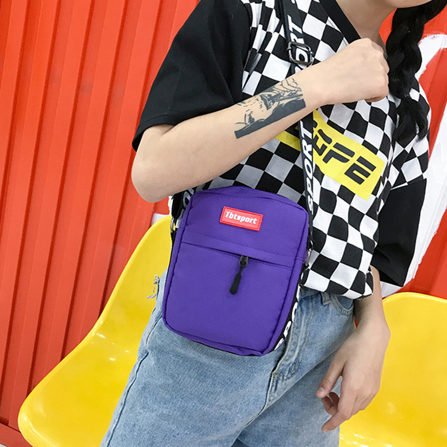 Ins Harajuku Canvas Crossbody Bags for Women Hip-Hop Man Small Mobile Phone Bags for Girls Boys Letter Shoulder Bag Street Chic chic letter heart pattern decorated bracelet for women