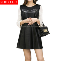 SHILO GO Fashion Vintage Women O Neck White Chiffon Long Sleeve Sexy Black Sheepskin Genuine Leather dress Ladies Concise Dress