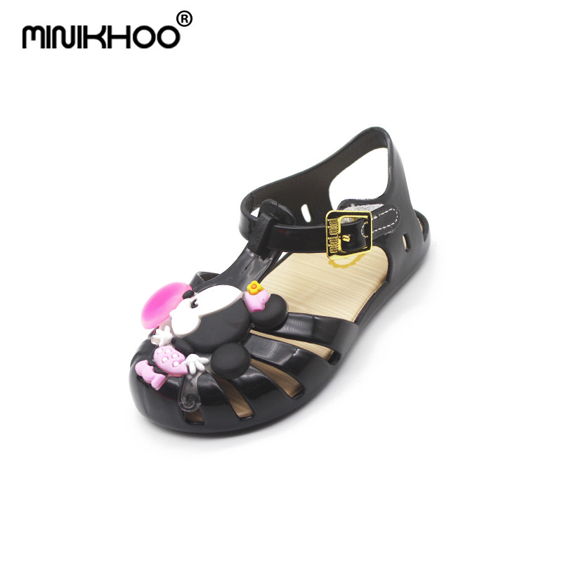 Mini Melissa 2018 New Cute Mickey Sandals Jelly Crystal Children Shoes Mickey Minnie Slippers Princess Sandals Girls Shoes