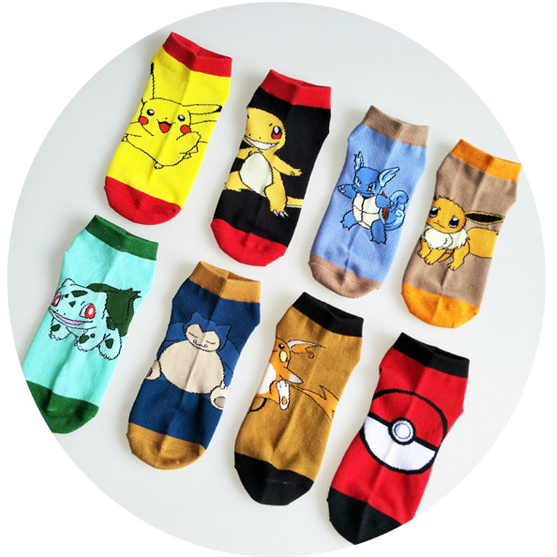 Cotton Socks Pokemon Go Ankle Socks Pikachu Cartoon Pattern Antiskid Casual Socks Pocket Monster Cosplay Costume Socks Props