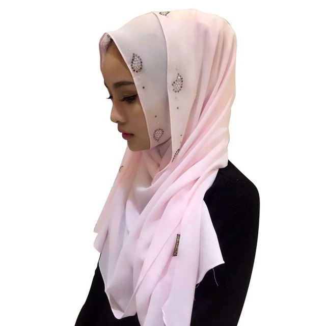 Muslim Headscarf Women Long Pearl Chiffon Islamic Hiajb Wrap Shawl Headwear