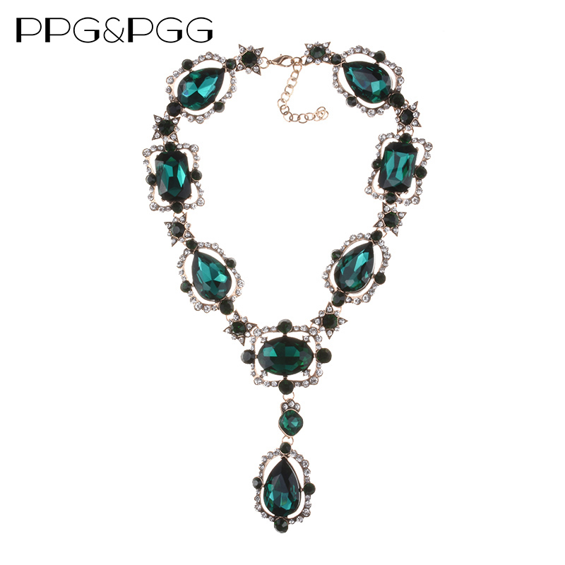 PPG&PGG 2017 Fashion Jewelry Women Accessories Luxury Statement Big Gem Geometric Square Glass Necklaces Pendants unique geometric faux gem embellished floral pendants beads necklace for women