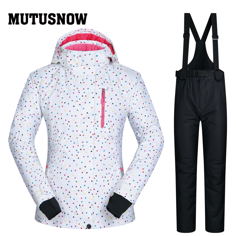 MUTUSNOW veste de Ski femme et pantalon coupe-vent imperméable veste d'hiver femme pantalon de Ski Snowboard ensembles extérieur montagne
