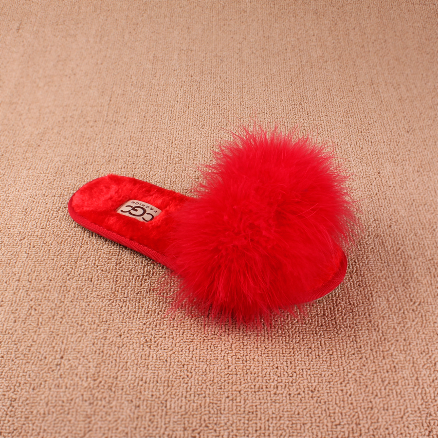 Spring Summer Plush Fur Slippers For Home