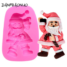Christmas Silicone Mold Cake Fondant Santa Claus Cake Tool Silicone Chocolate Mould Baking Tools For Cakes Silicon Form For Soap цена и фото