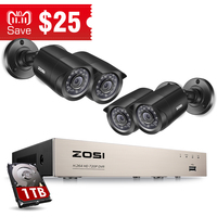 ZOSI 8CH CCTV System 4PCS 1280TVL Outdoor Weatherproof Security Camera 8CH 720P DVR Day/Night DIY Kit Video Surveillance System