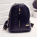 2016 fashion small women backpack black rucksack serpentine pu leather women shopping purse travel bag student school backpacks