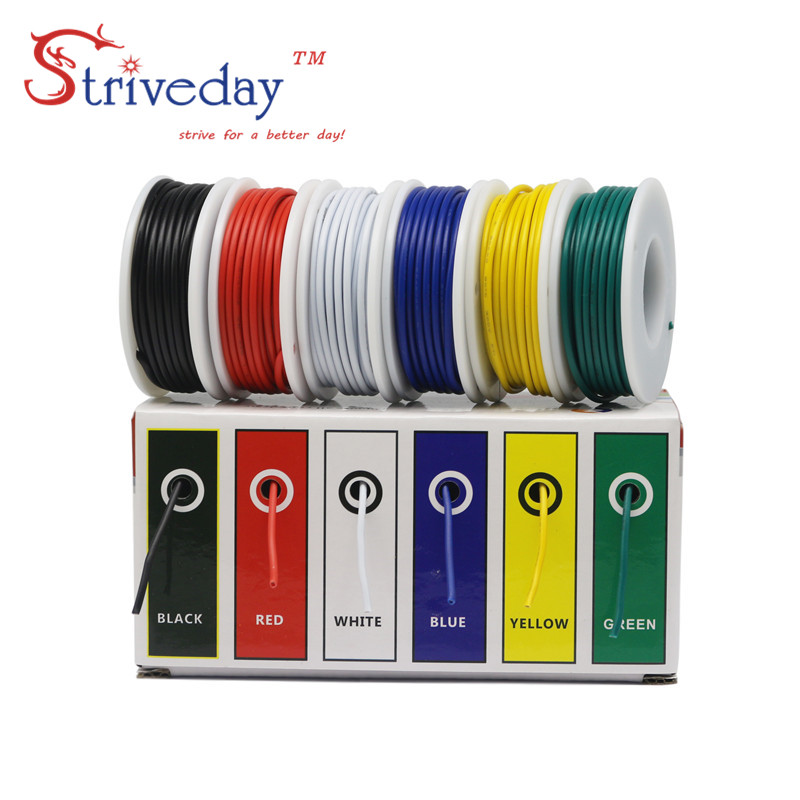 60 m/box( 6 colors mix Stranded Wire Kit) UL 1007 26AWG Electrical Wire Cable line Airline Copper PCB Wire 32.8 feet each colors 50m ul 1007 26awg 5 color mix box 1 box 2 package electrical wire cable line airline copper pcb wire