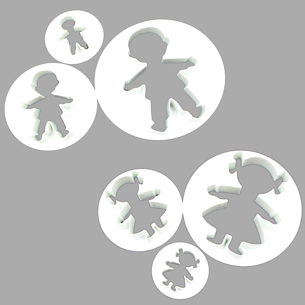 Sada tří kusů plastové řezačky forma dívka chlapec tvarované formy pro soubory cookie dort sušenky fondant cukr řemesla dekorace frézy  t