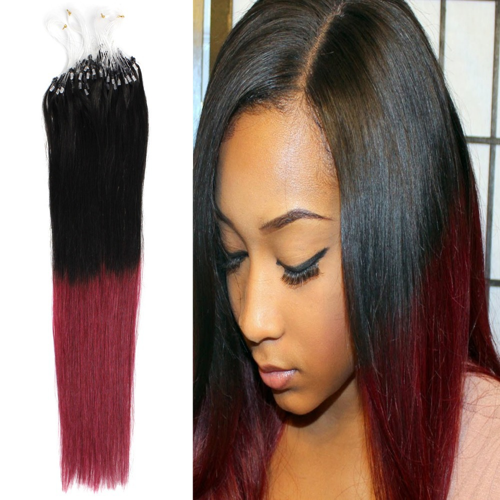 Grade Aaa 18 45cm Ombre Natural Straight Micro Ringbeaded Hair